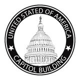 Washington DCKapitolium, USA. Gränsmärkestämpeletikett Fotografering för Bildbyråer