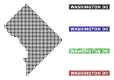 Washington District Columbia Map in Dot Style met Grunge-Titelzegels stock illustratie