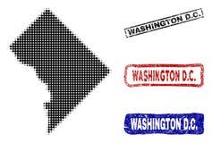 Washington District Columbia Map in Halftone Dot Style met Grunge-Naamzegels royalty-vrije illustratie