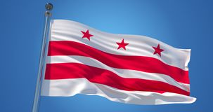 Washington, District de Columbia drapeau, Etats-Unis d'Amérique sur le ciel bleu clair, fond patriotique illustration 3D illustration libre de droits