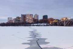 Washington Divided - Arlington VA Skyline Frozen Potomac Royalty Free Stock Image