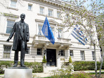 Washington Eleftherios Venizelos nära den grekiska ambassaden 2010 royaltyfri fotografi