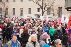 Washington, Etats-Unis 21 janvier 2017 ` De femmes s mars sur Washington Images stock