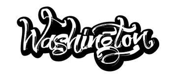 washington etikett Modern kalligrafihandbokstäver för serigrafitryck Royaltyfri Foto