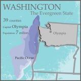 Washington, The Evergreen State Map Stock Photo