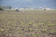 Washington Farmer Prepares su campo imágenes de archivo libres de regalías