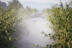 Washington Farmer Sprays Chemicals em bagas fotografia de stock royalty free