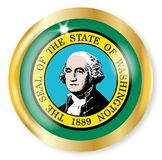 Washington Flag Button. Washington state flag button with a gold metal circular border over a white background Stock Image