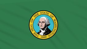 Washington flag flutters in the wind, loop for background.  stock video footage