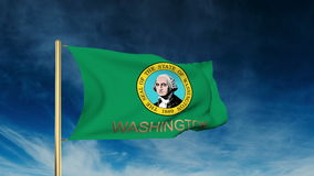 Washington flag slider style with title. Waving in. Washington flag slider style with title. Waving with cloud background animation stock video footage