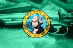 Washington flag U.S. state Gun Control USA. United States. Gun Laws Stock Photos
