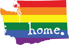 Washington gay pride vector state sign. LGBT community pride vector U.S. state decal: easy-edit layered vector EPS10 file scalable to any size without quality Royalty Free Stock Photos