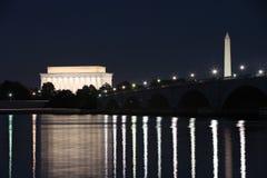 Washington, gelijkstroom bij Nacht Royalty-vrije Stock Foto's