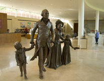 Washington George bronze sculpture. Life sized bronze sculptures of George and Martha Washington and two grandchildren Nelly and Washy at the Ford Orientation stock image