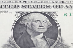 Washington George portrait on dollar bill. Closeup royalty free stock image