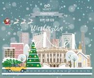 Washington, glad jul och ett lyckligt nytt år! Arkivfoto