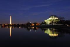 Washington Gleichstrom-Denkmäler Nightscape Lizenzfreie Stockfotos