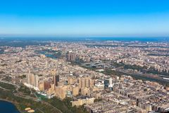 Washington heights in New York in USA. Upper Manhattan. Aerial helicopter view stock photos