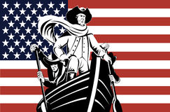 Washington at the helm with flag. Vector illustration of an American revolutionary at the helm with flag Stock Image