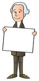 Washington Holding Sign. A cartoon George Washington holding up a blank sign stock illustration