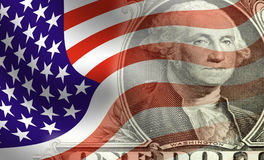 Washington infront of flag Stock Photography
