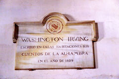Washington Irving Plaque Alhambra Wall Granada Andalusia Spain Royalty Free Stock Images