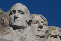 Washington and Jefferson on Mount Rushmore. George Washington and Thomas Jefferson on Mount Rushmore National Monument Stock Images