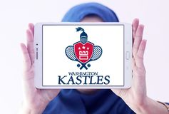Washington Kastles tennis team logo. Logo of Washington Kastles tennis team on samsung tablet holded by arab muslim woman. The Washington Kastles is one of six Stock Images