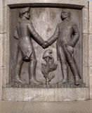 Washington and Kosciuszko. George Washington and Tadeusz Kosciuszko, a bas-relief on the pedestal of the statue of Tadeusz Kosciuszko on Freedom Square in Lodz Stock Image