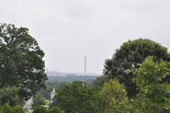 Washington landscape with Washington Monument on a rainy day from Washington District of Columbia USA Stock Photography