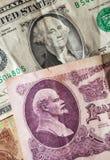 Washington and Lenin on the old bills. Washington and Lenin on the old USA and USSR bills Stock Photos