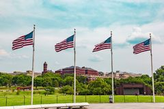 Four flags flying on Washington mall. Washington mall four flags flying. For patriotic individuals. Useful for holiday or patriotic messages. Rather multicolored Stock Photography