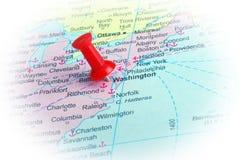 Washington  in map. Macro shot of Washington map with push pin Royalty Free Stock Photos