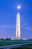 The Washington Memorial. In Washington DC at Night against a scenic blue sky stock photos