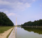 Washington monument. And capitol and reflection in the water, Washington DC royalty free stock images