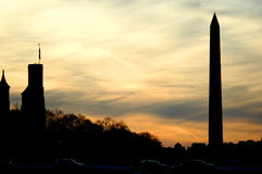 Washington Monument. At sunset Stock Images