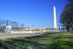 Washington Monument with American Flags Royalty Free Stock Photography