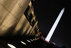 Washington Monument angle. Washington Monument at night at an angle with lights as the leading lines royalty free stock photos