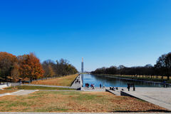 The Washington Monument as seen from the Lincoln Memorial in Washington DC, USA Stock Photos