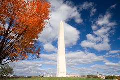 Washington Monument Autumn Framed Leaves Blue Sky Royalty Free Stock Image