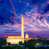 Washington Monument Capitol and Lincoln memorial Stock Photography