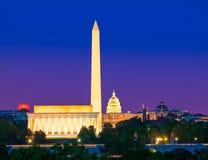 Washington Monument Capitol och Lincoln minnesmärke Fotografering för Bildbyråer