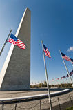 Washington Monument and circle of flags Stock Photos