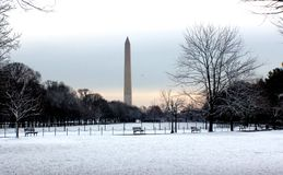 Washington monument on a cold snowy day. National mall area covered lovely snow in Washington, D.C Stock Images
