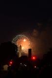 Washington Monument dans le C.C pendant le 4ème des feux d'artifice de juillet Photo libre de droits