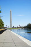 Washington Monument during the day with walkway perspective. Washington Monument on a bright day and capital building. Walkway perspective with reflecting pool Stock Image