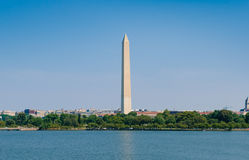 Washington monument in DC along Potomac  river Stock Photos