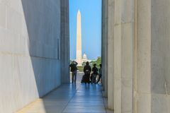Washington Monument in Washington DC. Shot from the Lincoln Memorial Stock Image