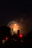 Washington Monument in  DC during 4th of July fireworks. Royalty Free Stock Photo