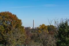Washington Monument des arbres Autumn Park Ou de cimetière d'Arlington photographie stock libre de droits